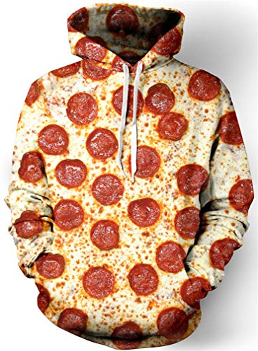 Sucor Mens Cool 3D Printed Hoodie Unisex Sweater Galaxy Wolf Pullover Sweatshirt(L/XL,Pizza)