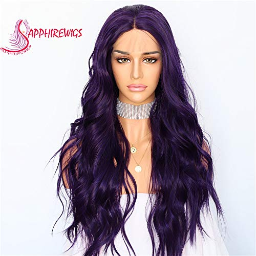 Sapphirewigs Purple Color Daily Makeup Silk Natural Wave Women Queen Present Wedding Party Synthetic Lace Front Wigs