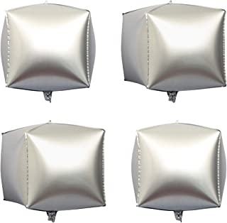 """Eanjia Chrome Matte Foil Cube Balloons 4count 4D Foil Balloons 15"""" Heigh After Inflation Hangable Square Shaped Aluminum M..."""