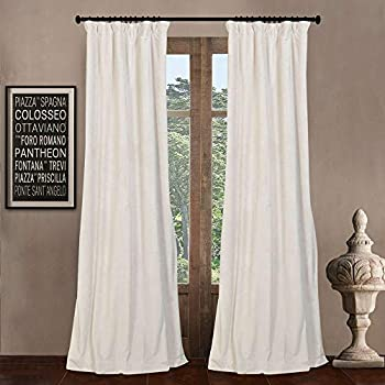 52  W x 84  L  set of 2 Panels  Pinch Pleat 90% White Lining Blackout Velvet Solid Curtain Thermal Insulated Patio Door Curtain Panel Drape For Traverse Rod and Track Off White Curtain