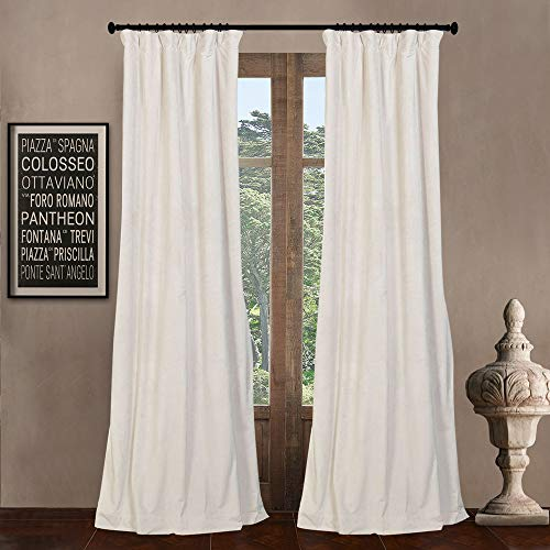 """84"""" W x 108"""" L (Set of 2 Panels) Pinch Pleat Blackout Lining Velvet Solid Curtain Thermal Insulated Patio Door Curtain Panel Drape for Traverse Rod and Track, Off White Curtain"""