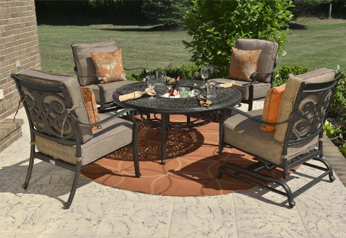 Hot Sale The Herve Collection 4-Person All Welded Cast Aluminum Patio Furniture Deep Seating Conversation Set With Drink Table And Spring Rocking Club Chairs