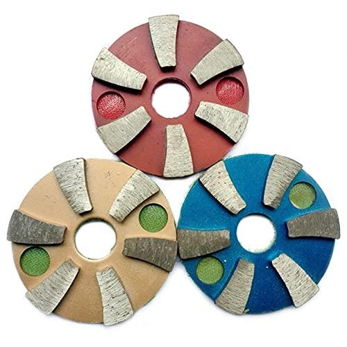SHENYUAN Pulido 3 unids 3 Pulgadas de Metal Almohadillas de Pulido de 80 mm de Pulido de Diamantes de 80 mm: Piso de hormigón seco/húmedo Discos de molienda Mármol Granito 3JKP (Grit : Red)