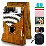 EASTROCK Kalimba Instrument de Musique Adulte, 17 Touches Piano à Pouce, Bois d'acajou Portable Mbira doigt Piano Intégré Boîte de Protection étanche (Kalimba, Piano à Pouces)