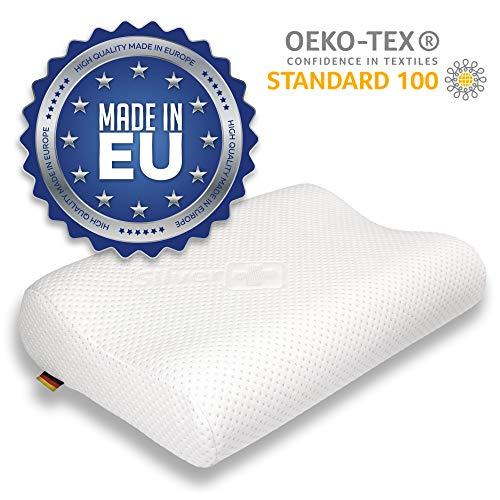 EcoNight - Almohada de espuma viscoelástica para el cuello, antironquidos, almohada ortopédica ergonómica, 50 x 36 cm, OEKO-TEX, hipoalergénica, de apoyo suave, Blanco, 50x36 cm