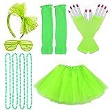 Jerbro 80s Costume Accessories for Girls, Skirt Leg Warmers Fishnet Gloves Bracelet Necklace Shutter Glass Green