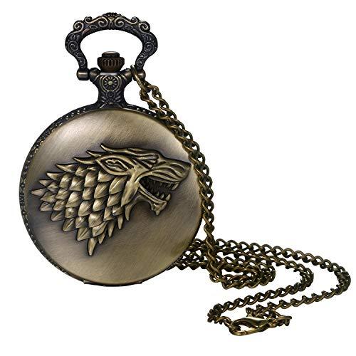 Lancardo Reloj de Bolsillo Retro Cadena de Suéter Reloj Decorativo Redondo Estuche con Decoración Relieve de Lobo Dial de Escala Digital Reloj de Cuarzo de Color Bronce No Impermeable