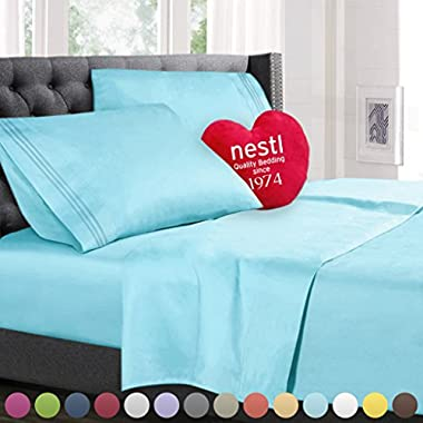 Queen Size Bed Sheets Set Aqua, Highest Quality Bedding Sheets Set on Amazon, 4-Piece Bed Set, Deep Pockets Fitted Sheet, 100% Luxury Soft Microfiber, Hypoallergenic, Cool & Breathable
