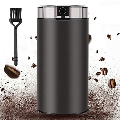 elektrische Kaffeemühle- CINDIRY Mini Bequem Coffee Grinder mit abnehmbare Smash-Tasse Multifunktion Getreidemühle, Bereift Aussehen (Grau)