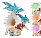 Ebros Nautical Ocean Family 3 Dolphins Swimming Over Giant Sea Conch Clownfishes and Anemones Statue with Colorful LED Light 9.5' Tall Bottlenose Dolphin Trio Marine Life Under The Sea Figurine