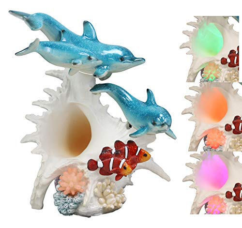 """Ebros Nautical Ocean Family 3 Dolphins Swimming Over Giant Sea Conch Clownfishes and Anemones Statue with Colorful LED Light 9.5"""" Tall Bottlenose Dolphin Trio Marine Life Under The Sea Figurine"""