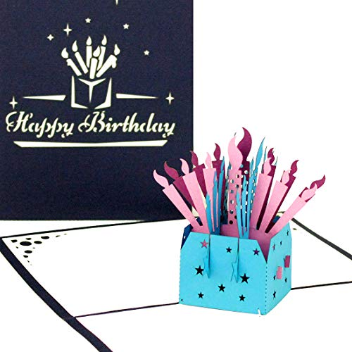 3D Birthday Card 'Birthday Candles - Happy Birthday' – 3D Greeting & Congratulations Cards as little gift, voucher & packaging - Pop Up Geburtskarte Englisch