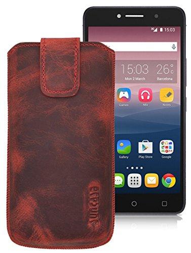 Original Suncase ECHT-LEDER Tasche Etui für   Alcatel One Touch Pixi 4 (8050D) Dual-SIM (6 Zoll)   (mit Rückzugsfunktion, Magnetverschluss) Cover Hülle Schutz antik-rot