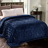 Whale Flotilla Flannel Fleece Queen Size(90x104 Inch) Lightweight Bed Blanket, Soft Velvet Bedspread Plush Fluffy Coverlet Palm Leaves Design Decorative Blanket for All Seasons, Navy Blue