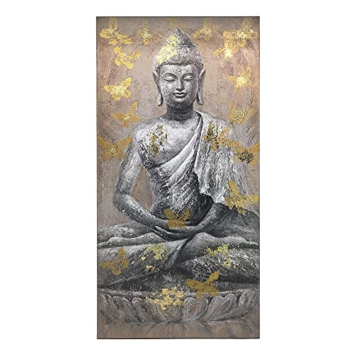 Yelash Buddha Canvas Wall Art Picture Buddhism Statue Sitting Inspirational Painting Zen Meditation Home Decor for Bathroom Bedroom Framed Ready to Hang (16'x32'x1)