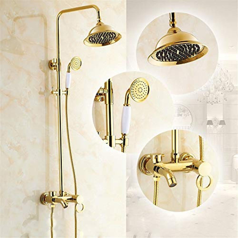 Volle Kupfer antik Badezimmer Dusche Dusche, europische Art, Wall Art Goldene Dusche, kalt, hei Wasser, Regen, Dusche und Handheld Sprinkler