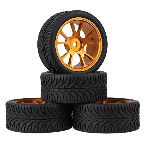Mxfans RC 1:10 On-Road Racing Car Black Leaves Pattern RC Rubber Tyre & Gold Aluminum Alloy 10-Spoke Wheel Rims Pack of 4