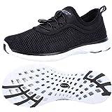 ALEADER Womens Water Shoes,Xdrain Venture, Travel Sneakers Black/White 9.5 D(M) US