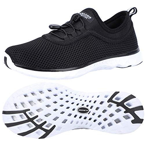 ALEADER Womens Water Shoes,Xdrain Venture, Travel Sneakers Black/White 9.5 D(M) US