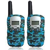 Wenosda 2PCS Walkie Talkies Childrens Walkies Talkie Wireless Intercom Interphone Exterior Way Radio Toys Flashlight for Kids Indoor Outdoor Activity (Blue)