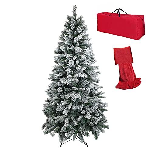 Totò Piccinni Albero di Natale INNEVATO FOLTO Berna, Copribase e Borsa, ALTISSIMA QUALITA', Neve Artificiale Effetto Realistico, Facile Montaggio, Ignifugo (300 cm)