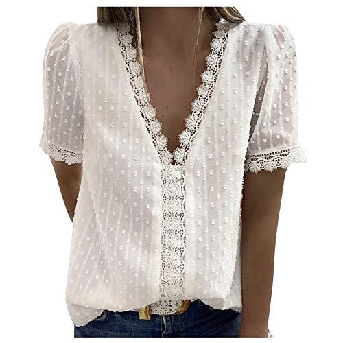 Routinfly Camiseta vintage para mujer, top vintage para mujer, blusa, blusa, tops, casual, estampada, camiseta de manga corta, informal, cuello en V, monocolor.