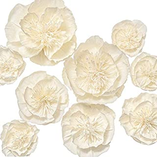 Ling's moment Paper Flower Decorations, 9 X Cream White Flowers(12''-6''), Handmade Giant Crepe Paper Flowers for Wall Nursery Wedding Baby Shower Birthday Centerpiece Photo Backdrop