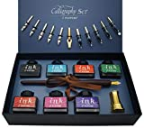 Set Plumas de Caligrafía, 22 piezas Kit Caligrafia, Incluye 7 Botes de Tinta, 12 Plumines, Pluma de Madera, Soporte Dorado de Pluma y introducción