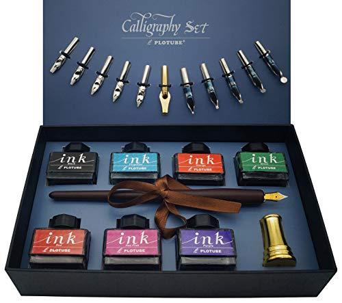 Juego de bolígrafos de caligrafía, 22 piezas, incluye 7 tintas, 12 plumas, bolígrafo de madera, portalápices dorados y folleto de introducción
