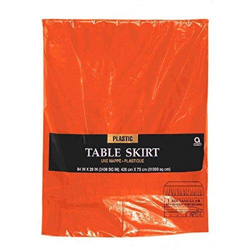 Fête Jupe de table en plastique orange 4m27