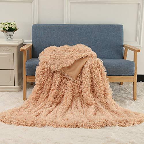 JXILY - Manta de peluche súper suave, manta de colores para sofá, de piel peluda, cálida, acogedora manta para invierno, color rojo, 50 x 70 cm