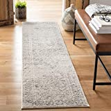 Safavieh Tulum Collection TUL264A Moroccan Boho Distressed Non-Shedding Stain Resistant Living Room Bedroom Runner, 2' x 8' , Ivory / Grey