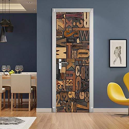 Etiqueta engomada de la puerta 3D Ddigital, calcomanías murales de PVC para la decoración del hogar del arte 30.3x78.7 (77x200cm)