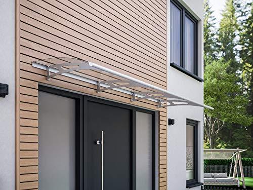 Schulte Vordach Haustür Überdachung 240x90 cm Edelstahl rostfrei Polycarbonat durchgehend transparent Pultvordach Style Plus