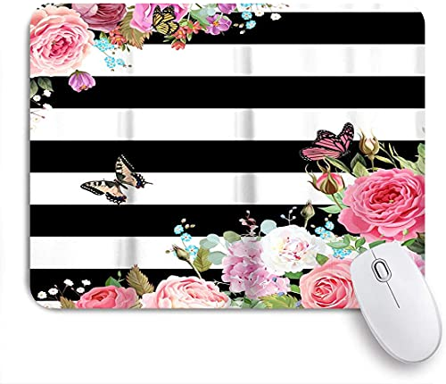 HASENCIV Gaming Mouse Pad for Computer Black White Stripes Floral Flowers Non-Slip Base Desktop Laptop Mouse Pad Waterproof Desk Pad for Work Game Office Home