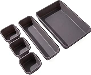 Queta Lot de 8 Bacs de Rangement en Plastique pour Tiroirs de Salle de Bain Organisateur de Tiroir Rangement Empilable pou...