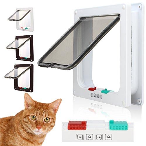 DHOUTDOORS Microchip Katzenklappe Innentür Katzentür 4 Wege mit Tunnel Freilauftür Haustierklappe Magnet-Verschluss