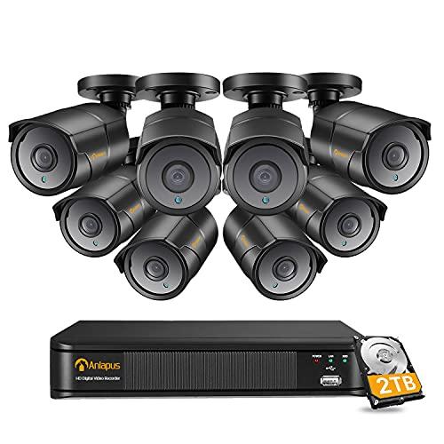 Anlapus 4K H.265+ Sistema de Vigilancia 8CH Súper HD Videograbador con 2TB Disco Duro 8 Cámaras Exterior, 30M Visión Nocturna, App Gratis