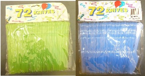 144 Plastic Blue And Green Knives - Party Tableware - Barbecues [Toy]