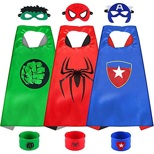 Sinoeem Cartoon Superhero Capes for Kids,Cool Superhero Mask Children Boys Favours for Party Christmas Gift for 3-10 Year Old Boys Girls Toys Age 3-10 (3pcs Capes-A2)