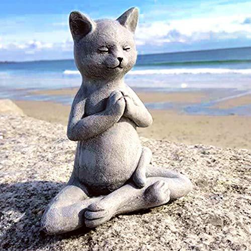 Cat Buddha, Meditating Cat Statue,Yoga Cat Art Decor Statue, Cat Buddha Statue for Zen Vibe,for Spring Decorations The Home Ornaments, Table Centerpiece