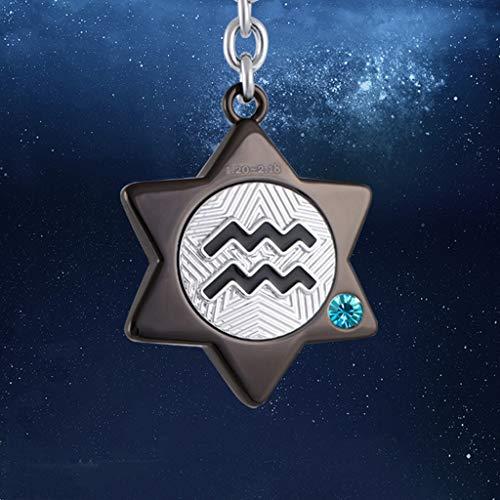PLL eenvoudige creatieve twaalf sterrenbeeld Aquarius sleutelhanger strass sleutelhanger sleutelhanger paar auto sleutelhanger Zwart