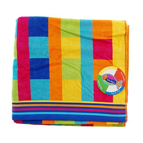 Jumbo Telo Mare 2 Posti Due Piazze Matrimoniale Cotone Spugna Egiziana 100% Varicolori (Quadri Multicolor)