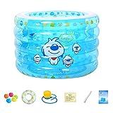 QILIN Piscina Hinchable Bebe, Piscina Inflable Azul Transparente Engrosada, Piscina para Niños, Piscina para Baño, 110 Cm × 75 Cm, Adecuada para Bebés De 0 A 36 Meses