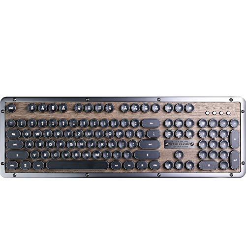 Azio Classic Retro-Tastatur Elwood, mechanische Schreibmaschinen-Tastatur, Steampunk-Tastatur mit Bluetooth, kabellos, beleuchtete Tasten, Vintage Look