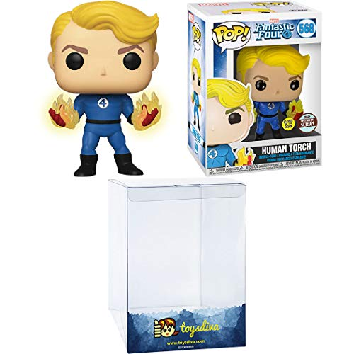 Human Torch (Specialty Series): Funk o Pop! Vinyl Figure Bundle with 1 Compatible 'ToysDiva' Graphic Protector (568 - 45006 - B)