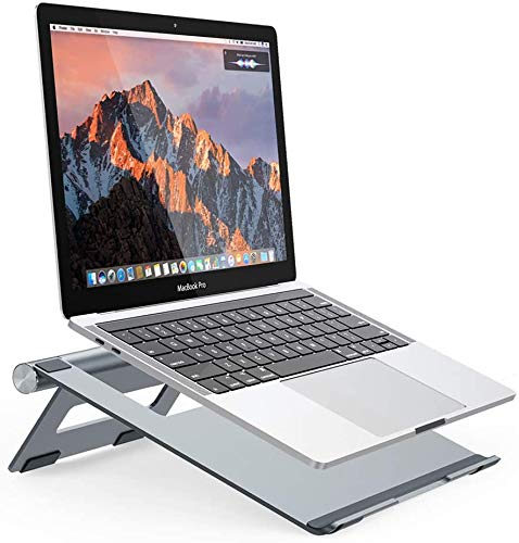 NULAXY Laptop Stand for Desk, Portable Notebook Stand, Travel Foldable Laptop Stand Tablet Desktop Holder, Universal Adjustable Laptop Stand for Apple ipad Macbook Pro Air 10 to 15.8 inch Grey