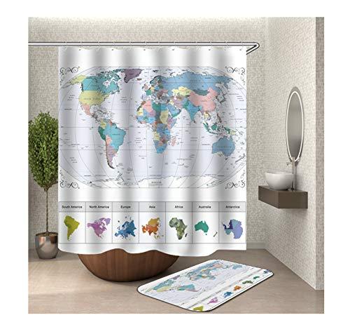 Bishilin Badematte Toilette, 150x200 3D Anti Schimmel Duschvorhang Weltkarte Badezimmerteppich Toilette 40x60
