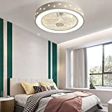 LED Ventilatore da Soffitto con Luce e Telecomando Silenzioso Camera da Letto Ventola Lampada 3 Temperature di Colore Dimmerabile Soggiorno Ventilatore Lampada 64W per Cameretta dei Bambini VOMI