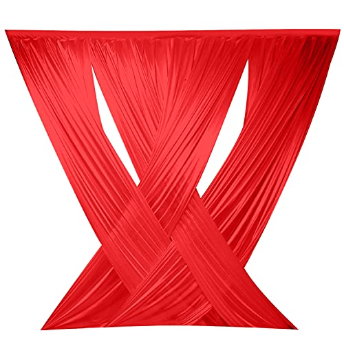 LOVWY 10ft x 10ft Red Criss Cross ICE Silk Sheer Voile Drape Panels with Rod Pockets for Wedding Backdrop, Photography Background for Baby Shower Party Decor